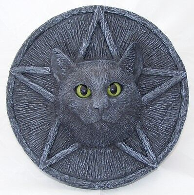 CAT PLAQUE PENTACLE Garden Stone Wall Black Pagan Wiccan LIFE SIZE Ornament Xmas