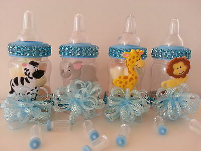 12 Blue Fillable Bottles Baby Shower Favors Prizes Safari Jungle Noah's Animals