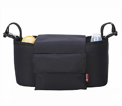 2in1 Baby Changing Bag Pram Storage Buggy Organiser - Black