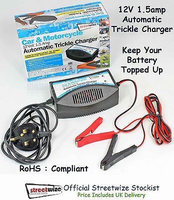 Battery Charger Streetwize 12V 1.5amp Automatic Trickle Car Motorcycle Gel Lead