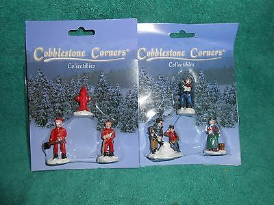 2 Sets of Cobblestone Corners Collectibles Christmas Firemen NEW in Packages
