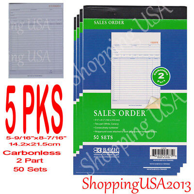 5Pcs Sales Order Books Receipt 2 Part Carbonless Form Invoice 50 Set Green