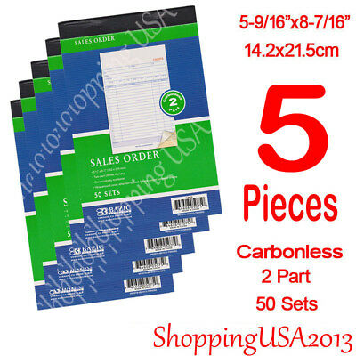 6Pcs 2 Part Carbonless Sales Order Books Receipt Form Invoice 50 Set Green