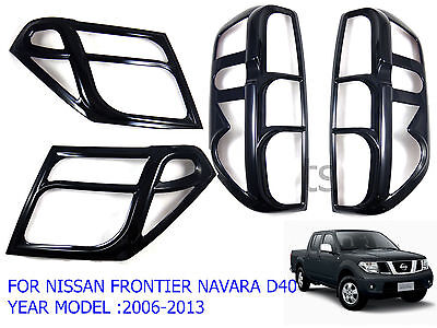 Glossy Black Head+Tail Light Lamps Cover Fit Nissan Frontier Navara D40 2005-13