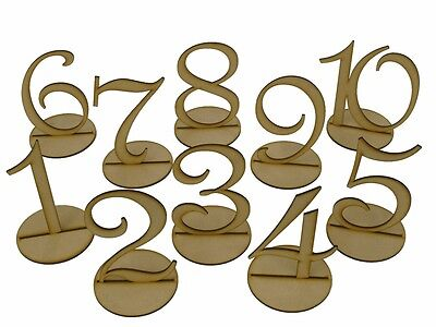 MDF Wooden Shape 15cm Table Numbers 1-20 with Base 3mm Thick Wedding Birthday