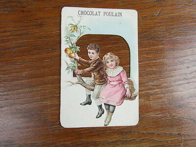 (PC) grand CHROMO RELIEF & DECOUPIS CHOCOLAT POULAIN TRADE CARD circa. 1885