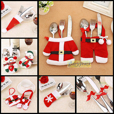 Christmas Santa Claus Tableware Silverware Dinner Party Cutlery Funny Decor Hold