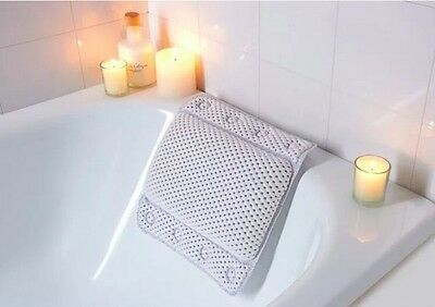 White Memory Foam Relaxing Cushioned Bath Spa Pillow Head Neck Rest Relax Body