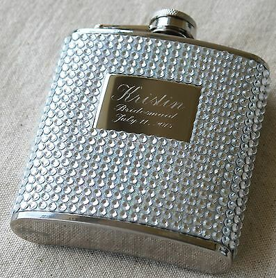 Personalized Silver Bling Flask - Bridesmaid Gift - Bachelorette Party Gift