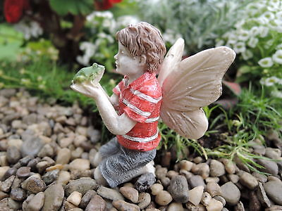 "2.25"" My Fairy Gardens Mini Figure - Ethan - Boy Holding Frog Miniature Figurine"