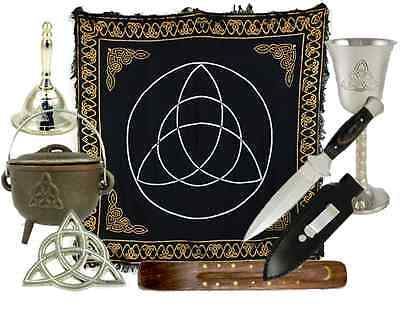 Celtic Wiccan Altar Kit - Athame, Chalice, Altar Cloth, Bell, Cauldron, Ritual