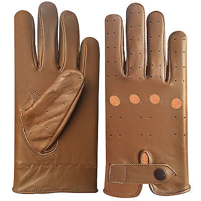 Real Leather Men's Unlined Fashion Nappa Driving Tan Gloves D-508