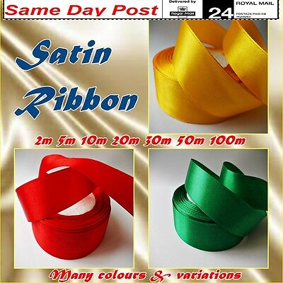 SATIN RIBBON Glossy Shiny Soft Tape Band 25mm Many Colours and Lengths Gift Wrap