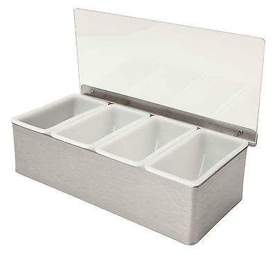 Stainless Steel 4 Compartment Condiments Holder Bar Tidy Garnish Beaumont Pub