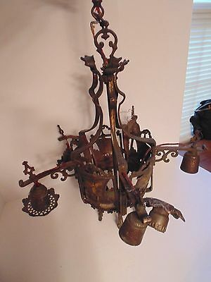 Antique Ornate Cast Iron Chandelier w/ Ship Design
