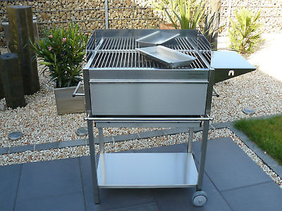 Edelstahl-Grill Holzkohle-Grill Typ: IBIZA Grill-Wagen BBQ Stand-Grill Gastro