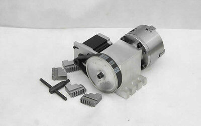 CNC Engraving Machine Router Rotational Axis, 4th Axis, A axis 100mm 4-Jaw Chuck