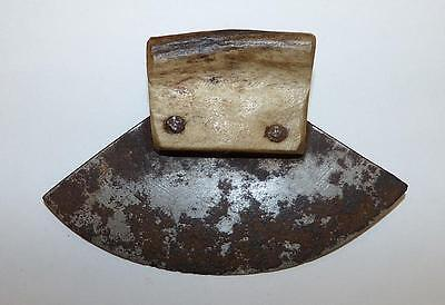 Early 20Th Century Inuit Small Ulu With Caribou Antler Haft. & Saw Steel Blade