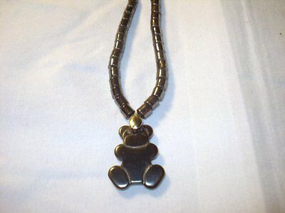 "16"" Hematite Drum Beads & Teddy Bear Crystal Healing Gemstone Pendant Necklace"