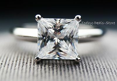 1.75 CT Princess Cut Solitaire Engagement Wedding in  Ring Real 14k White Gold