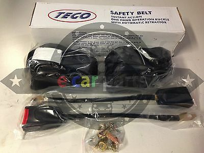 Universal Retractable Seat Belt 3 Point Black-Tego- Pair To Suit Any Vehicle