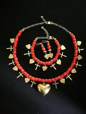 Sacred Heart Cross Milagros Necklace Earrings Bracelet Set Red Coral Signed GB