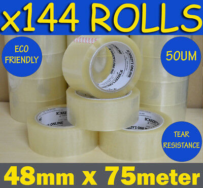 144 ROLLS HEAVY DUTY QUALITY CLEAR PACKAGING PACKING/SHIPPING TAPE 48mm x 75m