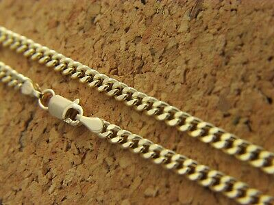 Real 14Kt Yellow Gold 3mm Diamond Cut CURB link Cuban Chain Necklace Lobster 14k
