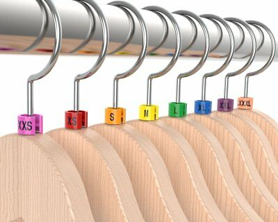 "Colored Hanger Sizer Garment Markers ""XXS-5XL""Plastic Size Marker Tags All Sizes"