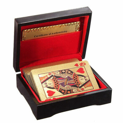 99.9% 24k Genuine Gold Plated Poker Playing Cards With Wooden Box 4 Christmas AU