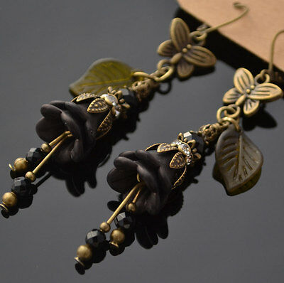 Black Lucite Flower Vintage Antique Style Glass Victorian Butterfly New Earrings