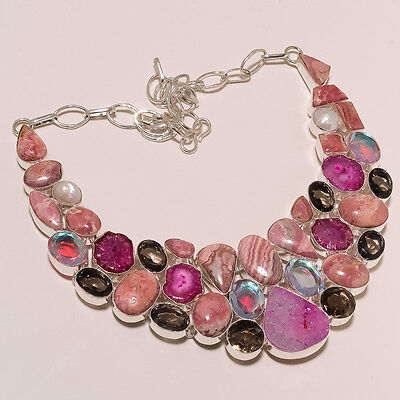 Gorgeous Design!Rhodochrosite,Mystic Topaz,Agate,Pearl,Smoky Quartz Big Necklace