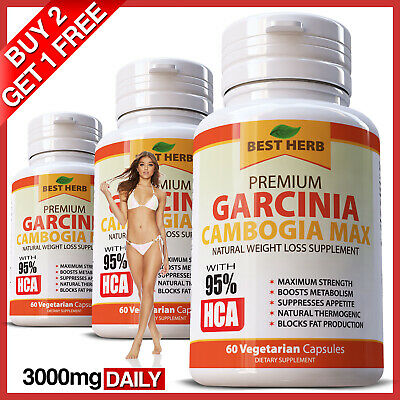Pure Garcinia Cambogia Extreme Weight Loss 95% HCA Extract Diet Fat Burner Slim