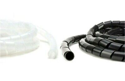 Black & Clear Spiral Wrap Cable Tidy Wires Leads Binding Hide PC/TV/CCTV/DVD