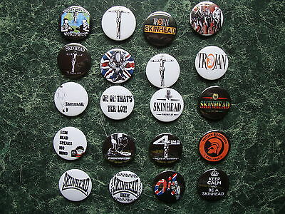 SKINHEAD COLLECTION 20 x 25mm BUTTON BADGES SET 5 REGGAE SKA SCOOTER TROJAN SKIN