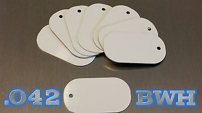 .042 *SUPER THICK* White Aluminum Dye Sublimation Dog Tag Blanks - Lot of 300 pc