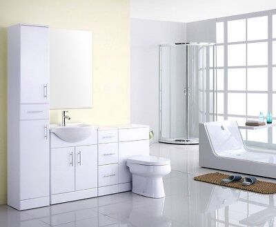 High Gloss White 1750mm Tall Boy Bathroom Vanity Back To Wall Furniture Suite