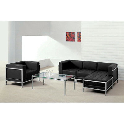 5 Piece Lounge Set with Black Leather Sectional & Chair - Reception Furniture
