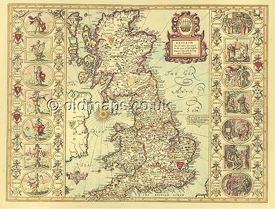 Saxon Heptarchy Replica John Speed Old 17c. Map 100% Hand Coloured!  FREE POST