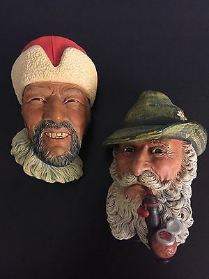 Lot of Two Vintage Bossons Chalkware Heads, Tyrolean 1972, Himalayan 1966, Eng.