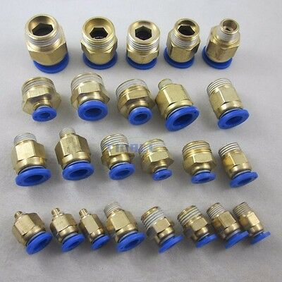 5pcs Pneumatic Straight Push In to Male Fittings Connectors for Air/Water Hose