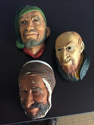Lot of Three Vintage Bossons Chalkware Heads, Fagin 1964, Persian 1962, Corsican