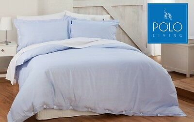 Polo Luxury Quilt Cover Set - Sky Blue Colour, 100% Cotton, Tailored Finish