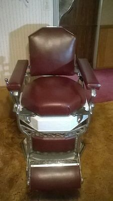 Burgundy Red Antique Koken Barber Chair / Good Condition / Metal and Porcelain