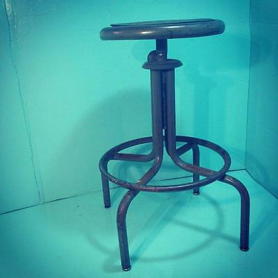 Vintage Industrial Metal Stool Steampunk Bar Retro Tanker Desk