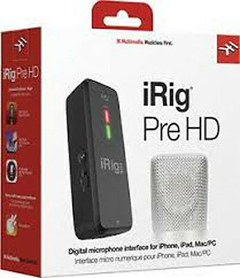 NEW IK Multimedia Irig Pre HD High Definition Microphone Interface IOS MAC PC