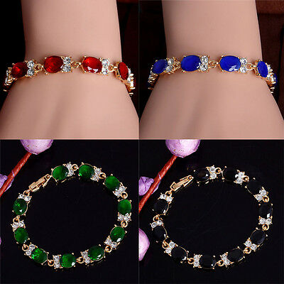 1pc Elegant Top Yellow Gold Plated Austrian Crystal Women Color Bracelet