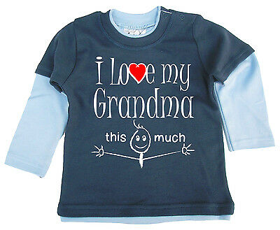 """Baby Skater Top """"I Love My Grandma this Much"""" Long Sleeved Tee Grandmother"""