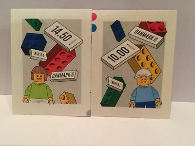 Lego Stamps - 2 Genuine Danish Male / Female Minifigure Stamps - Mint Condition.