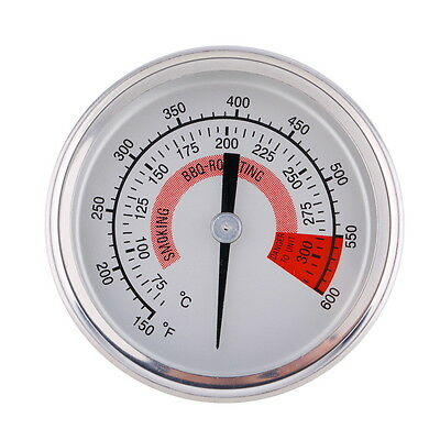 Stainless Steel Barbecue BBQ Pit Smoker Grill Thermometer Gauge 300°C Food OK
